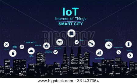 Smart City Concept With Icon. Iot City Design Technology For Living. Modern City, Internet Of Things