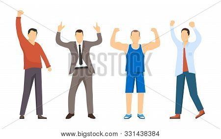 Successful People, Confident People. The People Who Won. Presentation Of A Set Of Successful Men. Co