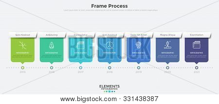 Horizontal Timeline With 7 Rectangular Elements And Year Indication. Flat Infographic Design Templat