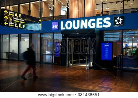 Copenhagen, Denmark - Nov 24th, 2018: Entrance Of Airport Business Lounge At Kastrup Airport Cph Wit
