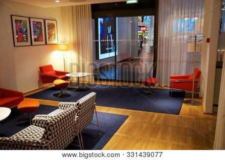 Copenhagen, Denmark - Nov 24th, 2018: Airport Business Class Lounge Interior Of Sas, Seating Area In