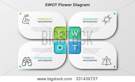 Matrix With 4 Paper White Petal-like Elements. Swot Flower Diagram. Creative Infographic Design Temp