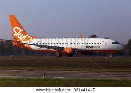 Borispol, Ukraine - October 29, 2019: Ur-sqa Skyup Airlines Boeing 737-800 Aircraft Departing From T
