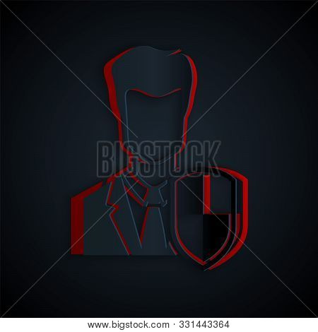 poster of Paper cut User protection icon isolated on black background. Secure user login, password protected, personal data protection, authentication icon. Paper art style. Vector Illustration