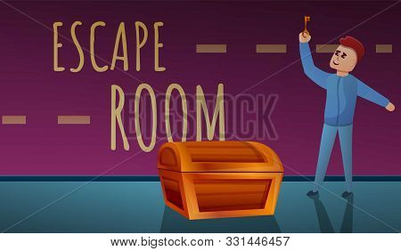 Escape Room Concept Banner. Cartoon Illustration Of Escape Room Vector Concept Banner For Web Design
