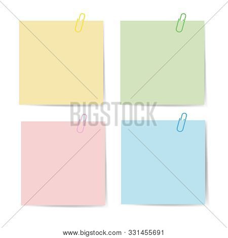 Memo Paper With Paperclip For Office Paperwork. Fastener, Paperclip With Blank Notepaper. Attaching