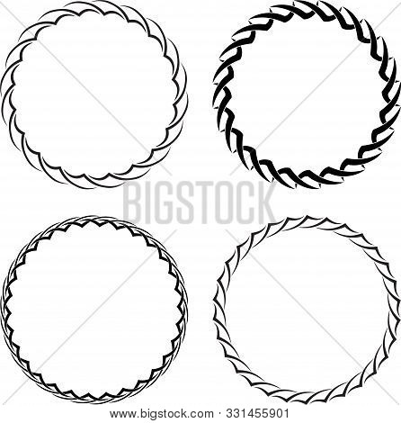 Set Of Four Decorative Round Frames For Your Design.