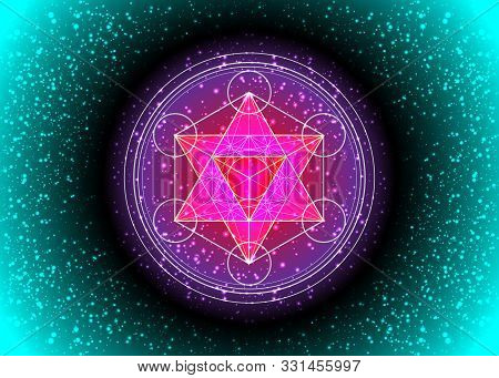 Metatrons Cube,  Flower Of Life.  Sacred Geometry, Graphic Element Vector Isolated Illustration Or S