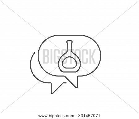 Cognac Bottle Line Icon. Chat Bubble Design. Brandy Alcohol Sign. Outline Concept. Thin Line Cognac