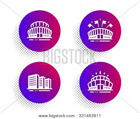Sports Arena, Buildings And Sports Stadium Icons Simple Set. Halftone Dots Button. Arena Stadium Sig