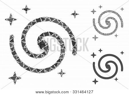 Galaxy Mosaic Of Tremulant Items In Different Sizes And Color Tints, Based On Galaxy Icon. Vector Tr