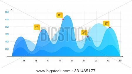 Pencil, Horizontal Chart And Line Chart Line Icons Set. Infographic Chart, Financial Data Graphic. S