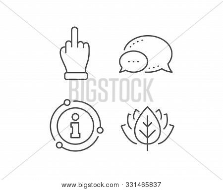 Middle Finger Hand Line Icon. Chat Bubble, Info Sign Elements. Palm Gesture Symbol. Linear Middle Fi
