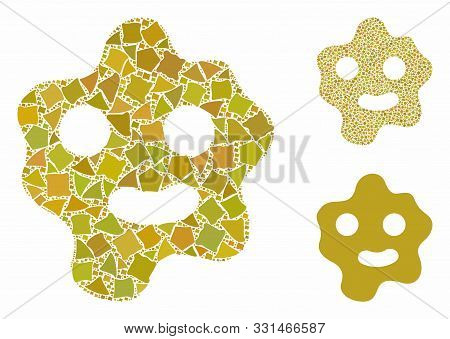 Ameba Mosaic Of Joggly Pieces In Different Sizes And Color Tinges, Based On Ameba Icon. Vector Humpy