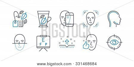 Set Of Medical Icons, Such As Mint Bag, Face Detection, Healthy Face, Head, Clean Skin, Vision Board