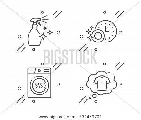 Dryer Machine, Dishwasher Timer And Washing Cleanser Line Icons Set. T-shirt Sign. Laundry, Cleaning