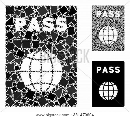 Passport Mosaic Of Trembly Parts In Different Sizes And Color Tinges, Based On Passport Icon. Vector