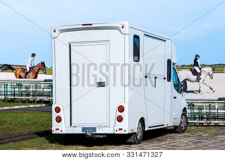 Horse Vehicle .  Carriage For Horses . Auto Trailer For Transportation Of Horses . Transportation Li