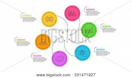 Bitcoin System, Recovery Photo And Fuel Energy Line Icons Set. Infographic Timeline. Report Diagram,
