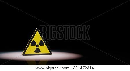 Ionizing Radiation Hazard Symbol Spotlighted on Black Background with Copy Space 3D Illustration poster