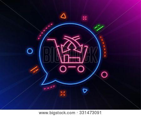 Cross Sell Line Icon. Neon Laser Lights. Market Retail Sign. Glow Laser Speech Bubble. Neon Lights C
