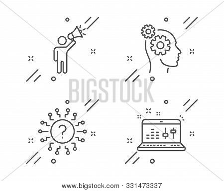 Brand Ambassador, Question Mark And Thoughts Line Icons Set. Sound Check Sign. Megaphone, Quiz Chat,