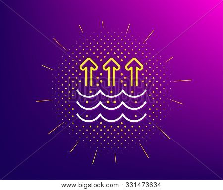 Evaporation Line Icon. Halftone Pattern. Global Warming Sign. Waves Symbol. Gradient Background. Eva