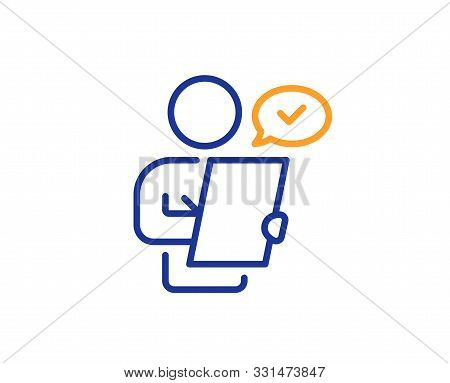 Contract Application Sign. Customer Survey Line Icon. Agreement Document Symbol. Colorful Outline Co