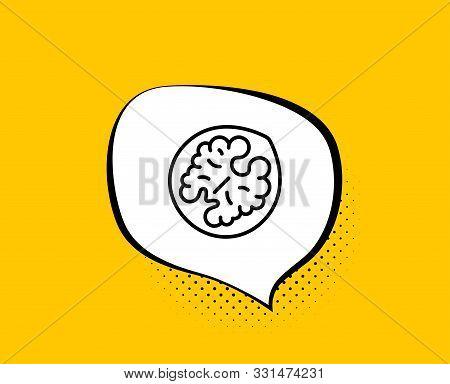 Walnut Line Icon. Comic Speech Bubble. Tasty Nut Sign. Vegan Food Symbol. Yellow Background With Cha
