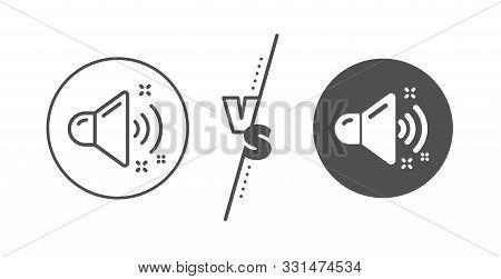 Music Sound Sign. Versus Concept. Loud Sound Line Icon. Musical Device Symbol. Line Vs Classic Loud