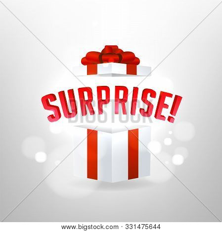 Surprise Inside Open Gift Box Design Template. Birthday Surprise And Christmas Present Concept.