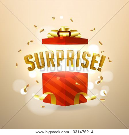 Surprise Inside Open Red Gift Box. Birthday Surprise And Christmas Present Concept.