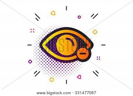 Eye Diopter Sign. Halftone Circles Pattern. Myopia Icon. Optometry Vision Symbol. Classic Flat Myopi