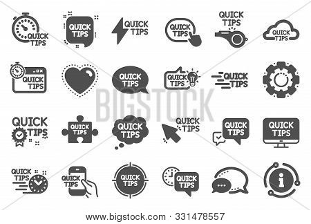 Quick Tips Icons. Set Of Helpful Tricks, Solution And Quickstart Guide Icons. Tutorial, Helpful Tips