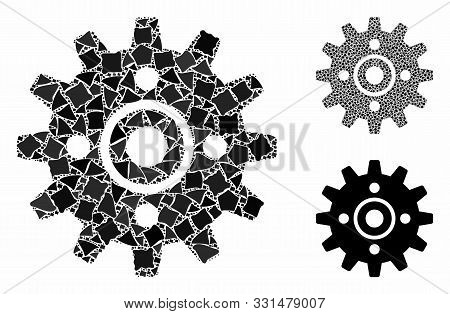 Cogwheel Mosaic Of Bumpy Parts In Variable Sizes And Color Tones, Based On Cogwheel Icon. Vector Bum