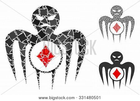 Gambling Spectre Monster Composition Of Bumpy Elements In Various Sizes And Color Hues, Based On Gam