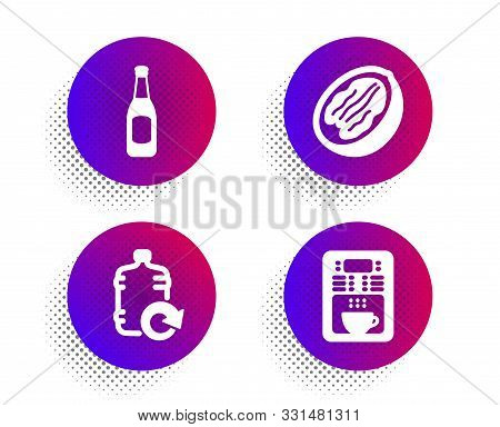 Refill Water, Beer And Pecan Nut Icons Simple Set. Halftone Dots Button. Coffee Maker Sign. Cooler B