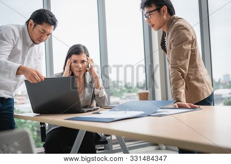 Businesspeople Teamwork Are Seriously During Meeting Together, Business Woman Having Upset While Loo