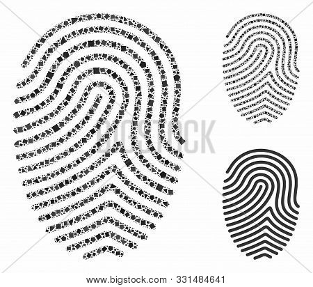 Finger Print Composition Of Unequal Items In Variable Sizes And Color Tones, Based On Finger Print I