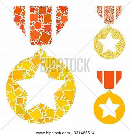 Medal Composition Of Bumpy Parts In Different Sizes And Color Tints, Based On Medal Icon. Vector Bum