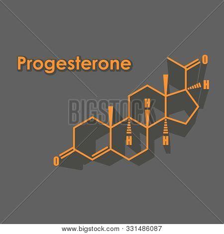 Progesterone Hormone Chemical Molecular Formula. Biochemistry And Gynecology Illustration.