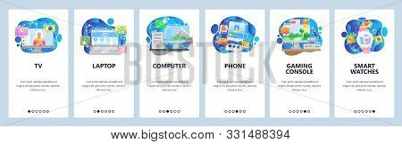 Mobile App Onboarding Screens. Home Electronics And Computer Gadgets, Tv, Laptop, Phone, Console, Sm