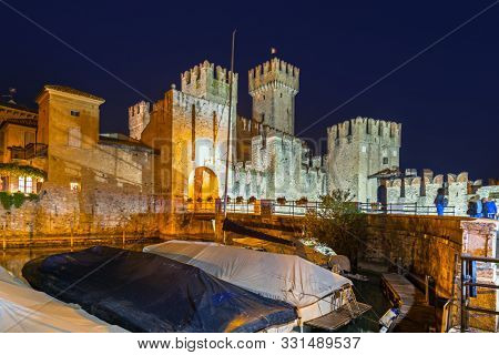 Architecture of Scaligero Castle at Garda lake in Sirmione, Italy