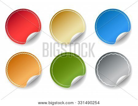 Round Peel Color Stickers. Colorful Circular Sticker Set Graphics, Vector Rounded Shapes Empty Banne