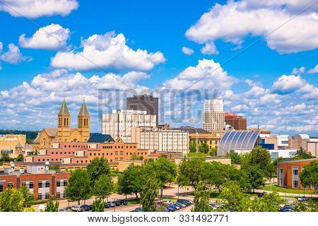 Akron, Ohio, USA downtown city skyline in the daytime.