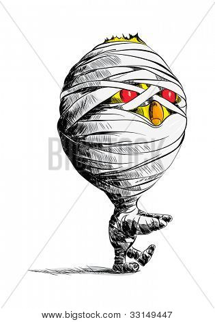 Vector chick mummy on white background