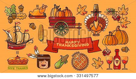 Happy Thanksgiving Vector Set Of Colorful Cartoon Icons.