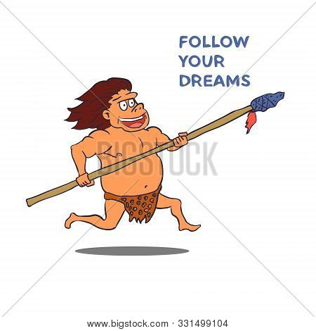 Cartoon Male Caveman Character With Spear. Vector
