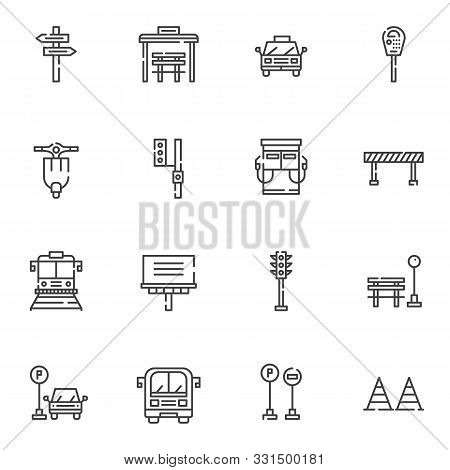 Urban Transportation Line Icons Set. Linear Style Symbols Collection Outline Signs Pack. Vector Grap