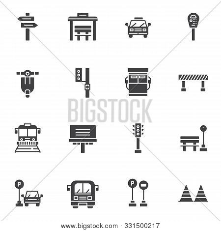 Urban Transportation Vector Icons Set, Modern Solid Symbol Collection, Filled Style Pictogram Pack.